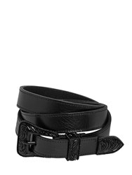 Saint Laurent 20Mm Western Leather Belt