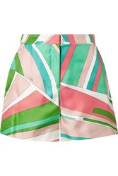 Emilio Pucci Printed Duchesse Silk Satin Shorts Green
