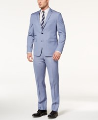 Vince Camuto Men's Slim Fit Stretch Light Blue Chambray Stripe Suit