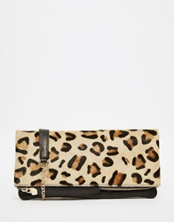 Oasis Leather Foldover In Leopard Print Clutch Bag Mu1multi1