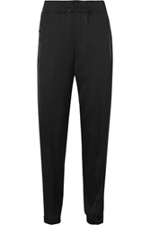 Prada Leather Trimmed Satin Track Pants Black