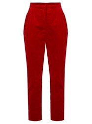 Dolce And Gabbana High Rise Velvet Trousers Red