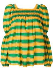 La Doublej Striped Blouse Green