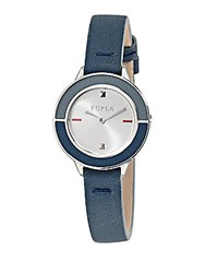 Furla Club Stainless Steel Leather Strap Watch Blue
