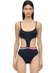 Tommy Hilfiger Logo Band One Piece Swimsuit Blue