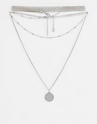 Missguided Diamante Layered Choker Necklace In Silver