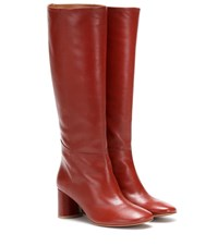 Loq Donna Knee High Leather Boots Red