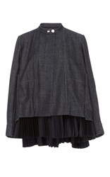 Dice Kayek Long Sleeve Pleat Detail Denim Jacket Navy
