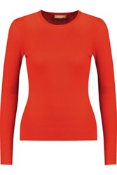 Michael Kors Collection Ribbed Cashmere Sweater Bright Orange