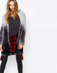 Eleven Paris Reversible Coat In Faux Fur Degrade Grey