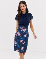 Paper Dolls Capped Sleeve Printed Midi Pencil Dress With Pussy Bow Detail Navy