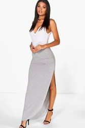 Boohoo Ruched Side Jersey Maxi Skirt Grey