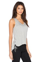 Feel The Piece Crosser V Neck Tank Gray