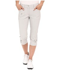 Jamie Sadock Airwear Light Weight 28.5 Pedal Pusher W Front Zipper And Button Closure Dove Grey Women's Capri Gray