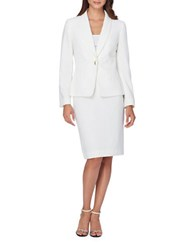 Tahari By Arthur S. Levine Solid Jacket And Skirt Suit Ivory