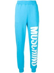 Moschino Logo Print Track Trousers Blue