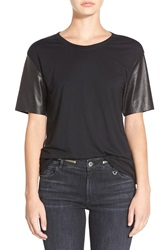 Joan Smalls For True Religion Brand Jeans Leather Sleeve Tee Black
