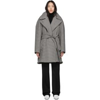 Balenciaga Black And White Houndstooth Pinched Wrap Coat