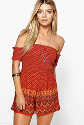 Boohoo Smocked Top Off The Shoulder Playsuit Red