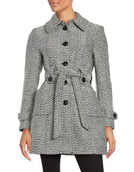 Gallery Tweed Belted Coat White Black
