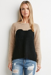 Forever 21 Fuzzy Colorblocked Sweater Taupe Black