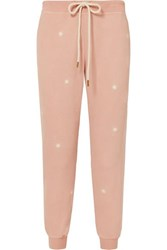 The Great Cropped Embroidered Slub Cotton Jersey Track Pants Pink