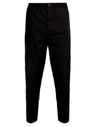 Oliver Spencer Concealed Drawstring Cotton Trousers Black