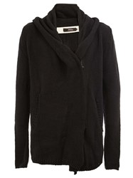 A New Cross Zipped Cardigan Black