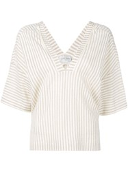 Forte Forte Striped V Neck Blouse Neutrals