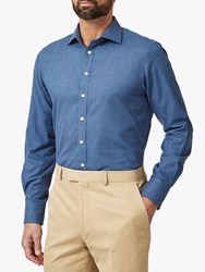 Chester Barrie By Herringbone Tailored Fit Shirt Blue