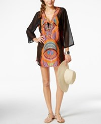 Raviya Beaded Ikat Print Tunic Cover Up Women's Swimsuit Black