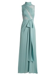 Elie Saab Lace Panelled Silk Blend Crepe Gown Light Green