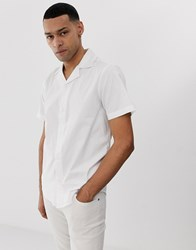 Solid Slim Fit Shirt Revere Collar White