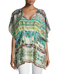 Johnny Was Tied Neck Printed Silk Poncho
