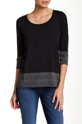 Three Dots 3 4 Length Sleeve Knit Tee Black