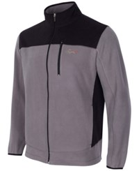 Greg Norman For Tasso Elba Men's Big And Tall 5 Iron Fleece Colorblocked Jacket Black Grey