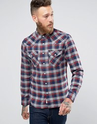 Lee Slim Check Flannel Western Shirt Navy Bright Navy