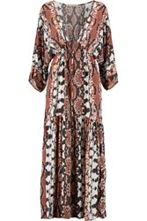 Tart Collections Camellia Printed Crepe De Chine Maxi Dress Brown