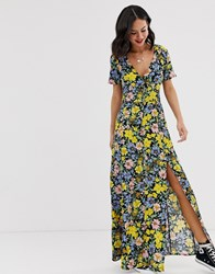 Miss Selfridge Maxi Dress With Button Through In Black Pattern