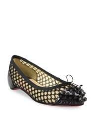 Christian Louboutin Mix Patent Spiked Knotted Mesh Flats Black