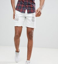 Sik Silk Siksilk Tall Super Skinny Denim Shorts In White With Distressing Exclusive To Asos