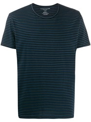 Majestic Filatures Striped Crew Neck T Shirt Black