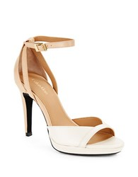 Calvin Klein Persy Leather Colorblocked Open Toe Stiletto Sandals White