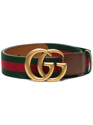 Gucci Double G Buckle Web Belt Brown