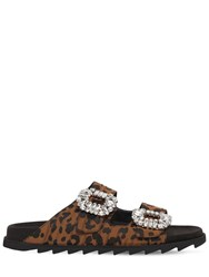 Roger Vivier 20Mm Slidy Viv Leopard Canvas Sandals