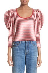 Marc Jacobs Women's Stripe Cotton Puff Sleeve Top Red Multi