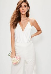 Missguided Bridal White Strappy Wrap Front Bodysuit