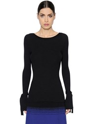 Sportmax Stretch Rib Knit Sweater With Ties