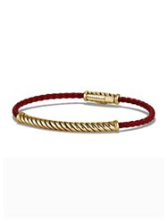 David Yurman Cable Plated Leather Bracelet Red Gold