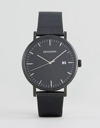 Sekonda Minimalist Black Leather Watch With Silver Dial Exclusive To Asos Black